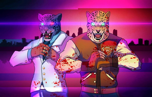 Picture blood, mask, art, crossover, Tekken, king, Hotline Miami, armor king
