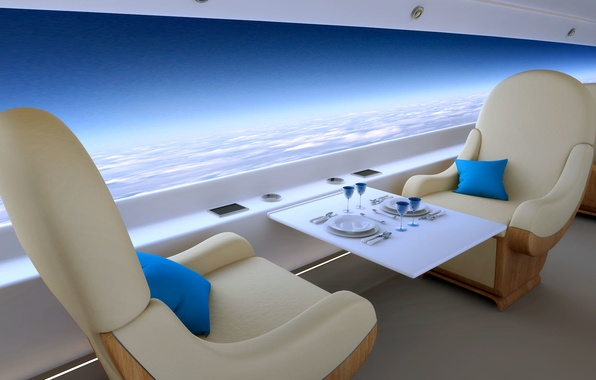 Picture clouds, style, table, height, chair, panorama, flight, the plane, future, comfort, jet, business, supersonic, business, …