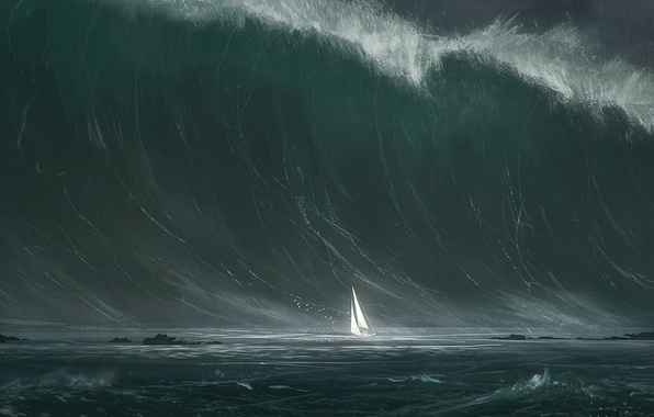 Picture sea, storm, wave, ship, sail