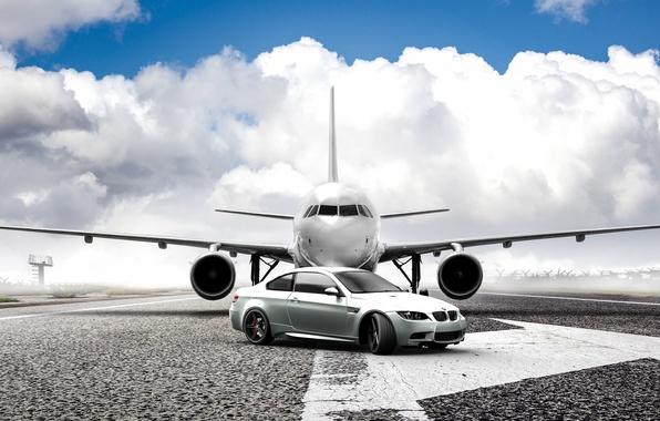 Picture the plane, bmw, BMW, silver, plane, e92, silvery