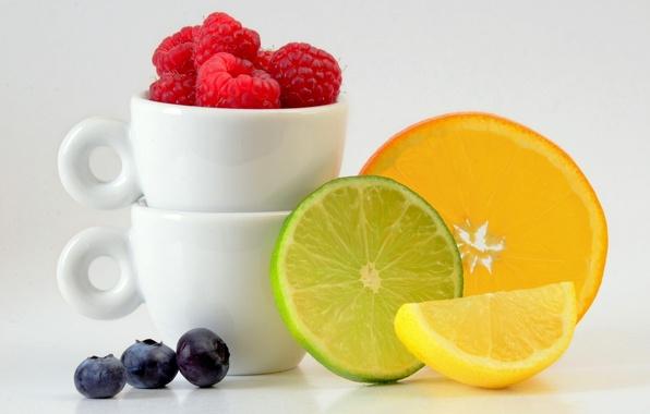 Picture berries, raspberry, lemon, orange, Cup, lime, fruit, citrus, slices, blueberries