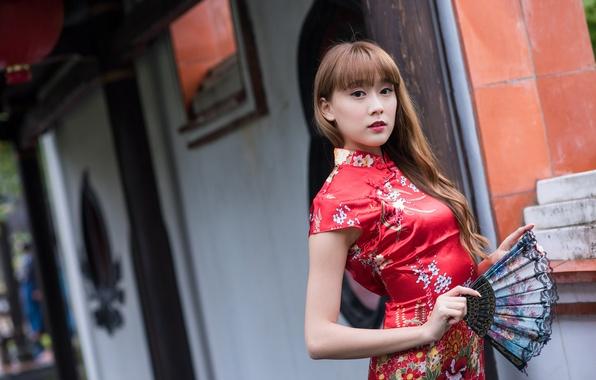 Picture look, face, background, hair, dress, fan, Asian, cutie
