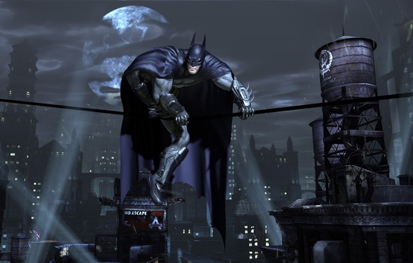 Picture night, the city, lights, the moon, mask, cloak, Batman, superhero, Gotham City