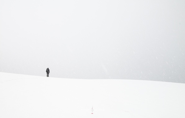 Picture field, snow, people