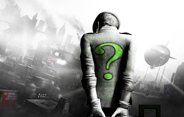 Picture green, batman, the question mark, arkham city, the Riddler, Riddler, Riddler