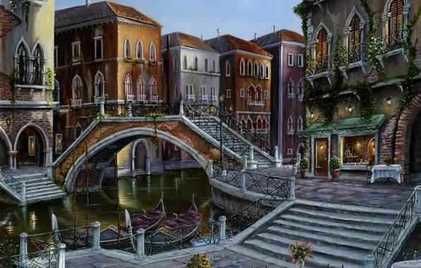 Picture flowers, bridge, table, Italy, ladder, Venice, channel, cafe, stage, vase, painting, Robert Finale, gondola, Venician …