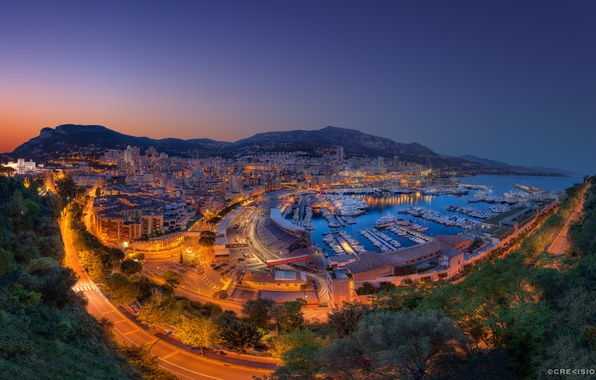 Picture mountains, the city, lights, Bay, the evening, Monaco, Monte-Carlo, the Port Hercule, Fever, the Principality