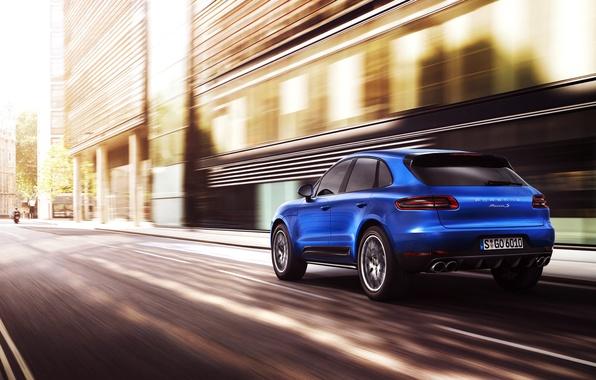 Picture Auto, Road, Blue, The city, Porsche, Machine, in motion, SUV, Rear view, Macan