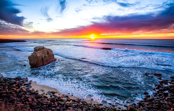 Picture sea, the sky, clouds, sunset, rock, stones, USA, California, San Diego