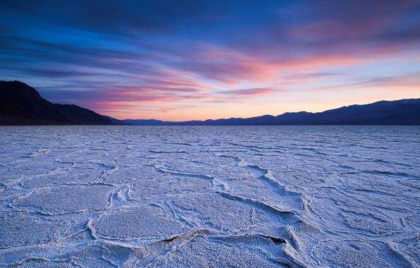 Picture the sky, sunset, lake, desert, dry