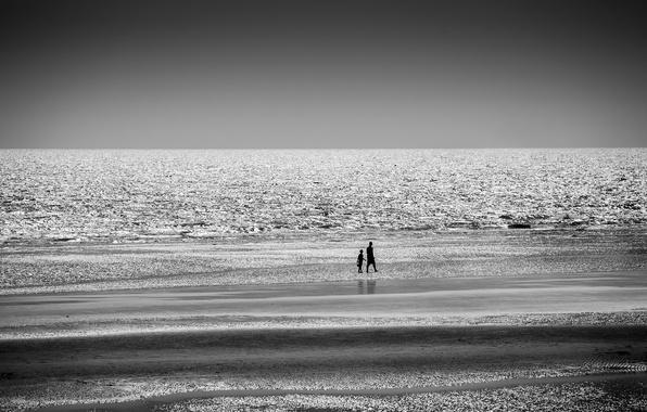 Picture sea, beach, night, walk