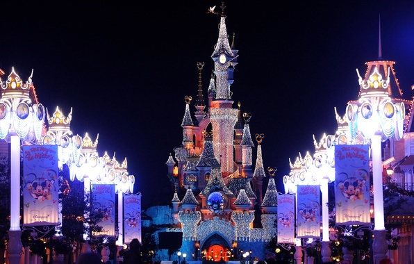Photo wallpaper decoration, lights, castle, France, Paris, Paris, Disneyland ,