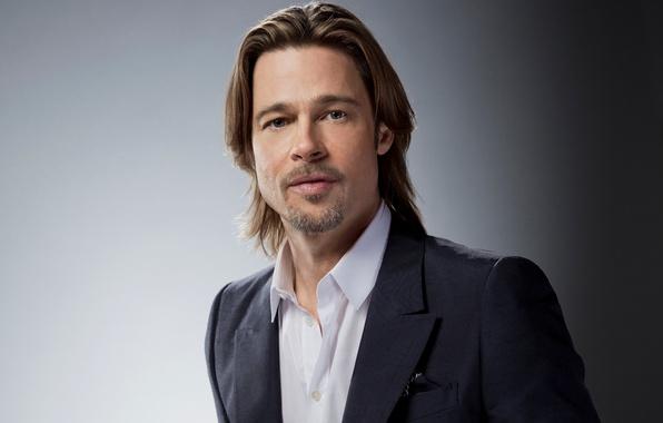 Picture actor, male, Brad Pitt, Brad Pitt, grey background, producer