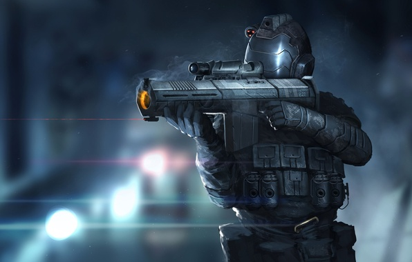 Picture weapons, art, soldiers, helmet, armor, sight, laser