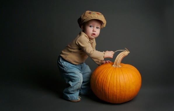 Picture children, holiday, mood, child, pumpkin, Halloween