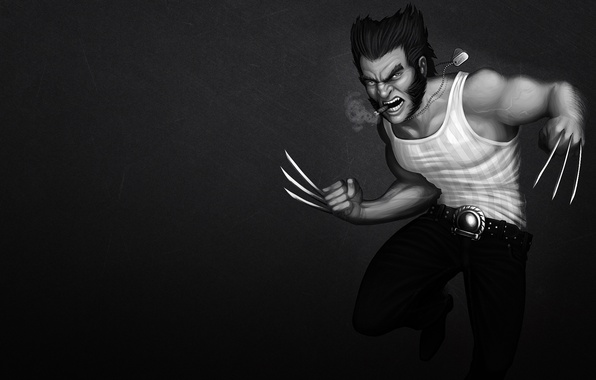 Picture cigar, evil, Wolverine, Logan, x-men, Wolverine, Marvel, black-and-white background, x-men, Comics, steel claws