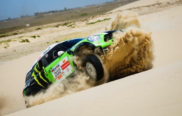 Picture Sand, Sport, Green, Speed, Race, Mini Cooper, Rally, Dakar, Dakar, MINI, Mini Cooper, X-raid