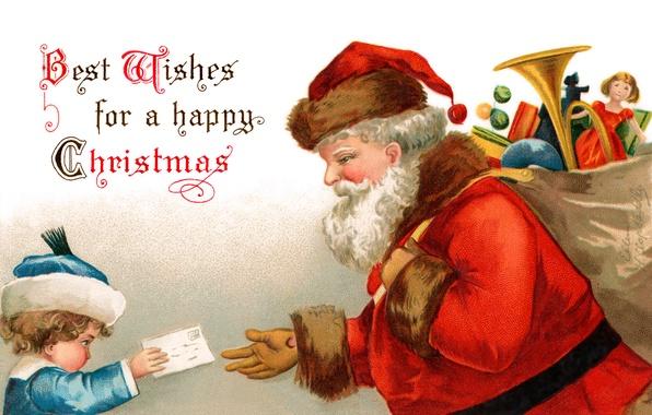 Picture letter, toys, boy, Santa Claus, bag, Santa Claus, postcard