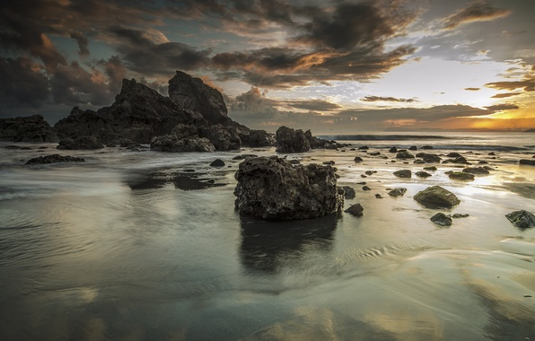 Picture sand, sea, the sky, landscape, clouds, rocks, shore, morning