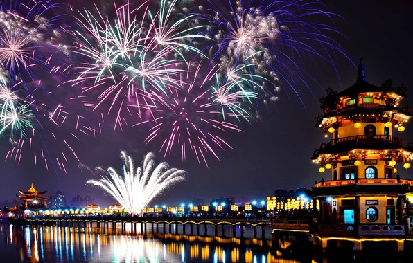 Picture salute, New Year, Taiwan, fireworks, Kaohsiung, Lotus Lake