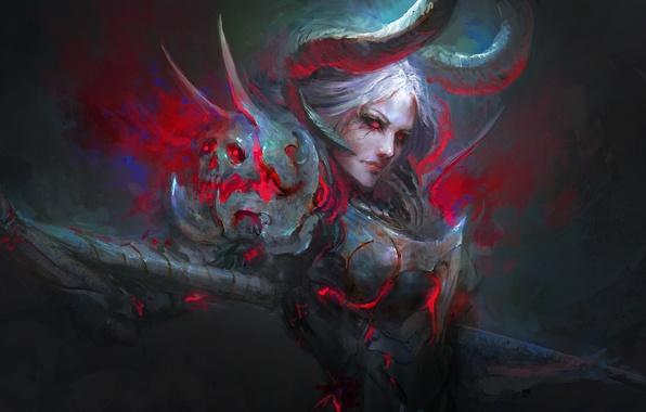 Picture look, fiction, skull, art, horns, armor, demoness, Daniel Kamarudin