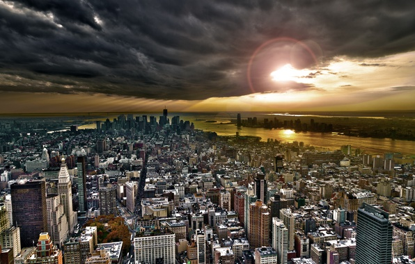 Picture the sky, clouds, the city, building, skyscrapers, new York, new york, usa, Manhattan