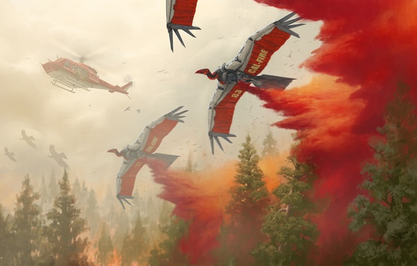 Picture forest, birds, fire, robot, art, helicopter, Robert Chew
