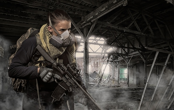 Picture girl, weapons, the ruins, optics, assault rifle