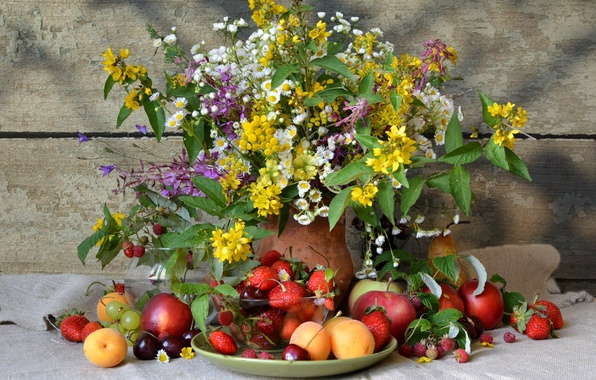 Picture summer, flowers, berries, raspberry, Apple, bouquet, strawberries, strawberry, grapes, pear, pitcher, fruit, still life, plum, …