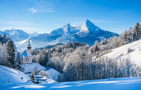 Picture winter, forest, snow, trees, mountains, Germany, Bayern, Alps, Church