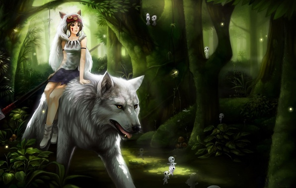Picture wolf, anime, girl