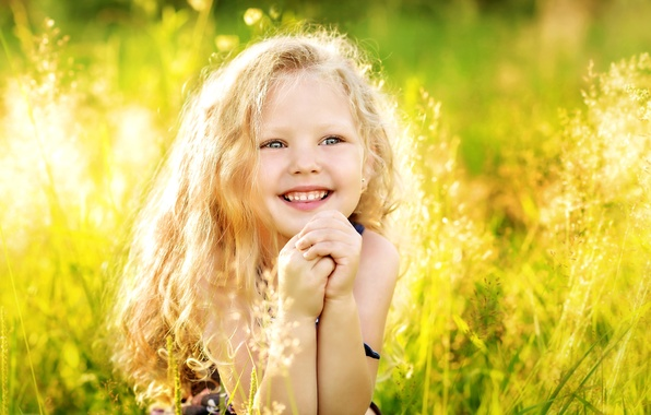 Picture summer, grass, light, joy, happiness, childhood, hair, laughter, girl