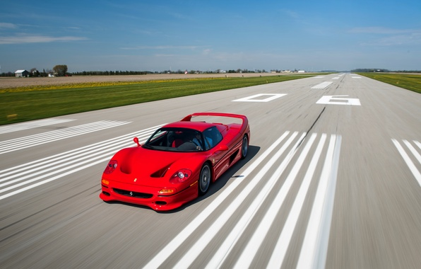 Picture car, auto, speed, Ferrari, red, Ferrari, speed, F50, racing