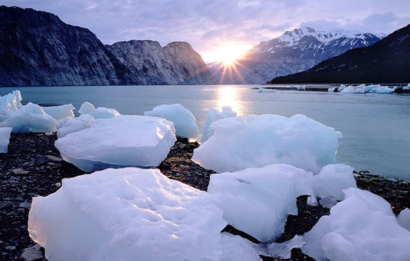 Picture ice, the sun, mountains, windows 7, seven