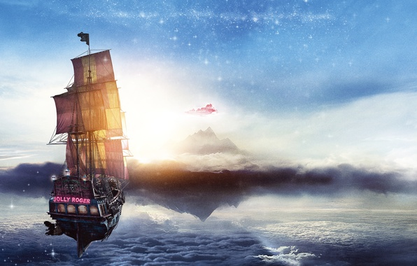 Picture sea, the sky, clouds, ship, fantasy, pirates, Jolly Roger, adventure, poster, Jolly Roger, Pan, Pan: …