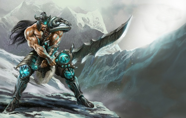 Picture snow, mountains, weapons, sword, armor, warrior, male, league of legends, Tryndamere