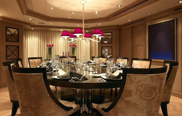 Picture photo, table, room, chairs, interior, the ceiling, chandelier