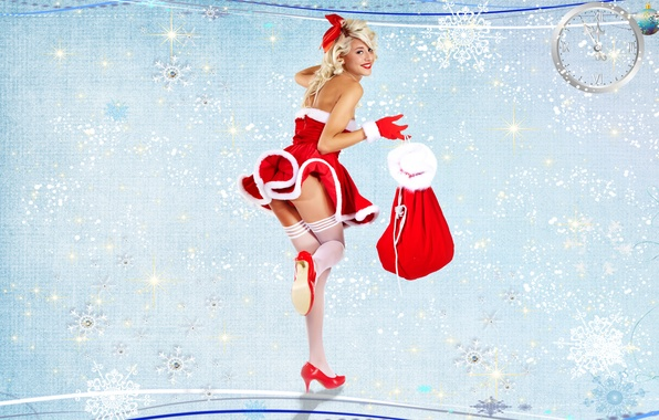 Picture background, gifts, gloves, Maiden, bag, Christmas