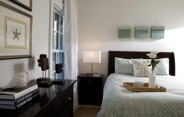 Picture design, style, room, furniture, books, lamp, bed, interior, vase, tray