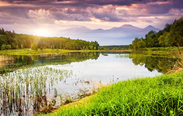 Picture greens, the sky, grass, water, clouds, trees, landscape, sunset, mountains, nature, lake