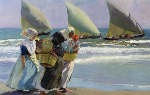 Picture women, shore, boat, picture, sail, seascape, genre, Joaquin Sorolla, Three Sails