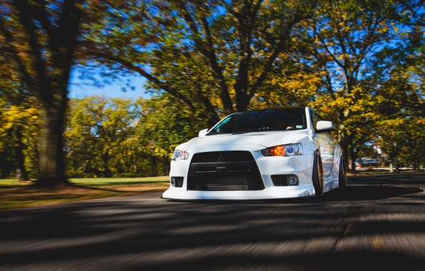 Picture car, white, mitsubishi, in motion, tuning, lancer, low, evo x, rechange, stance