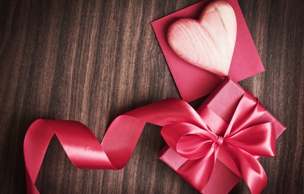 Picture background, holiday, box, gift, pink, heart, tape, heart, Valentine's day, ribbon, Valentine's Day