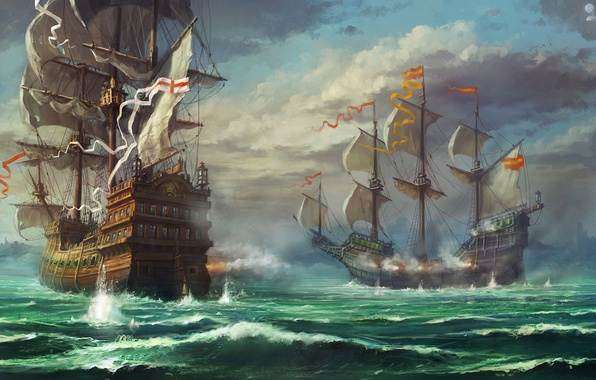 Picture sea, clouds, clouds, sailboat, ships, gun, art, shooting, battle