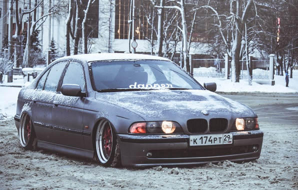 Picture Winter, Snow, BMW, BMW, Lights, E39, Stance, Front