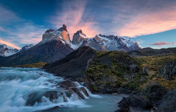 Picture clouds, mountains, nature, river, sunrise, Chile, Chile, National Park, Patagonia, Torres del Paine, Torres del …