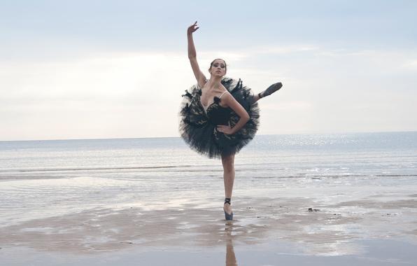 Picture sea, girl, dance, ballerina