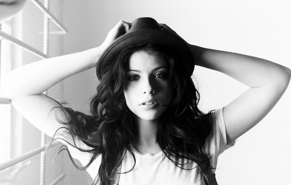 Picture movie, hat, actress, black and white, Michelle Trachtenberg