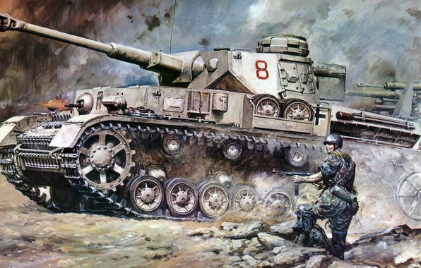 Picture war, figure, art, soldiers, A IV, offensive, Panzerkampfwagen IV, T‑IV, Pz. IV, German medium tank …