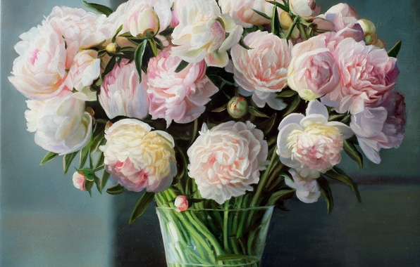 Picture stems, bouquet, picture, vase, pink, still life, peonies, Zbigniew Kopania